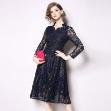 49256d63bef S - 3XL элегантный новая весна 2019 кружева платье миди женщины с длинным  рукавом черный синий цветок винтаж V-образным вырезом