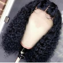 -Cheap Short Jerry Curly Brazilian Virign Lace Front Wigs For Women Natrual Black Color Pre Plucked Real Human Hair Glueless Wigs on JD
