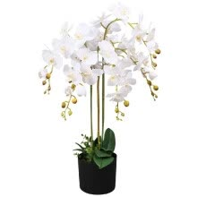 artificial-plants-Artificial Orchid Plant with Pot 29.5' White on JD