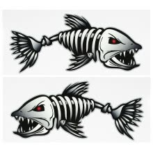 other-water-sports-2 Pieces Fish Teeth Mouth Stickers Skeleton Fish Stickers Fishing Boat Canoe Kayak Graphics Accessories on JD