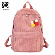 Cute Backpacks High School Stripe Backpack Women Corduroy Solid Travel Bags  Preppy Style Soft Fabric Back Pack Female 2018 916b035dc3840