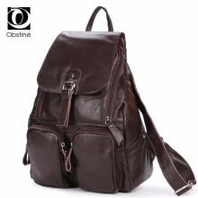 Real Cowhide Genuine Leather Backpack for Women 2018 High Quality Back Pack  Desinger School Bag for Girls Vintage Bagpack Female b264a8f046d4c