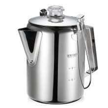 -Outdoor 9 Cup Stainless Steel Percolator Coffee Pot Coffee Maker for Camping Home Kitchen on JD