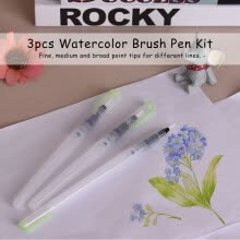 -3pcs Watercolor Brush Pen Kit Set Water Storage Nylon Hair Point Tips for Solid Color Powder Painting Drawing Calligraphy Artist on JD