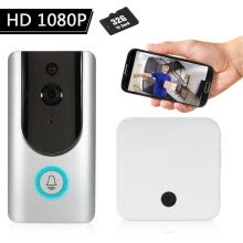 -HD 1080P WiFi Smart Wireless Security Doorbell with 32G TF Card+2PCS 18650 Batteries Smart Visual Intercom Recording Video Door Ph on JD