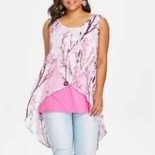 82312ccc62 PREISEI New Summer Women Sweet Elegant Print Tank Top Chiffon O-Neck  Sleeveless Plus Size Long Camisole Ladies Tops DJDM001