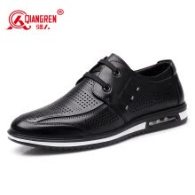 d4258bc03b6 Strongman JD73006 Fashion Breathable First Layer Leather Strap Style Casual  Cutout Men's Cool Leather Shoes Black 39 yards