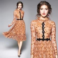 719319b8cd8 S - XXL элегантный новая весна 2019 кружева длинное платье женщин с длинным  рукавом бежевый цветок винтаж середины икры