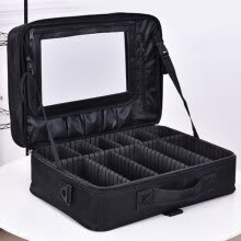-Professional makeup shoulder bag cosmetic big toolbox storage handbag with mirror travel beauty nail box messenger bags suitcase on JD