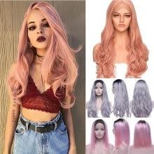 full-cap-wigs-Real Thick Brazilian Lace Front Hair Wig Heat Resistant Long Wigs Pink Gray on JD