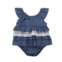 -Spring Summer Newborn Kids Baby Girls Denim Blue Bow Romper Lace Tutu Bodysuit Dress Clothes Outfit 0-3Y on JD