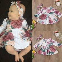 -Hot Newborn Kid Baby Girls Flower Dress Princess Party Pageant Clothes Set weret on JD