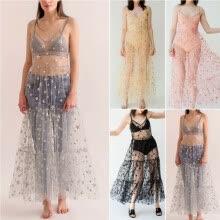 ae2442dd5d391 Women's Mesh Sheer Sling Bikini Cover Up Casual Star Long Dress Summer Beach