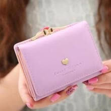 -Short Section Ladies Purse, PU Leather Mini Envelope Wallet, Small Clutch Triple Folding Female Card Holder Wallet on JD