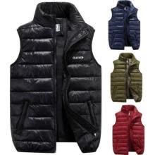-Men´s Winter Outdoor Casual Stand Collar Quilted Down Puffer Vest Coats (L, Red) on JD
