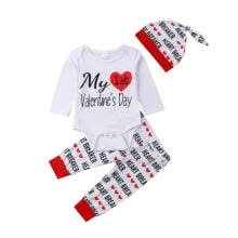 11fc67bd Cute My 1st Valentine´s Day Newborn Baby Boy Girl Clothes Romper Pants Hat  Outfits