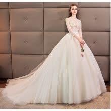 10a82752dc6 Luxury Women Lace Dream Wedding Dresses Sexy V-neck Long Sleeve Chapel  Train Princess Vintage Wedding Dress
