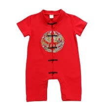 -Newborn baby's cotton long-sleeved romper embroidery Chinese style Tang suit romper onesies on JD