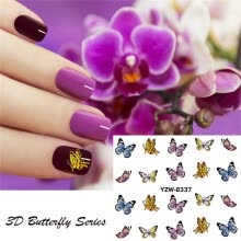-〖Follure〗DIY Butterfly Nail Sticker Art Pattern 3D Nail Sticker Girl Manicure Decal 24PCS on JD