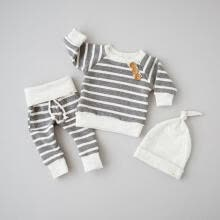 -3Pcs Newborn Baby Long Sleeve Top T shirt+Pants+Hat Striped Outfits Hat Clothes Fit For 0-18M on JD