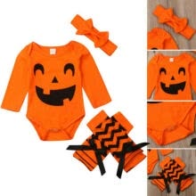 -Newborn Baby Girl Boy Clothes Halloween Romper Jumpsuit+Headband+Sock Outfit Set on JD