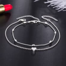 -Women Fashional Elegant Concise Retro Alloy Material Anti-friction Heart-shaped Anklet on JD