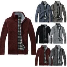 -Mens Zip Up Thermal Insulated Fleece Lined Knitted Cardigan Jumper Cardigan Gift on JD