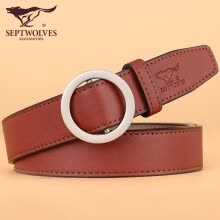 -Seven wolves (SEPTWOLVES) simple and versatile cowhide non-porous durable casual jeans belt ladies Korean round buckle thin belt belt female AN73922A51-03 red on JD
