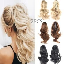 -15.7' Claw Clip on Ponytail Hair Extension Long Wavy Synthetic Hair Blond Braid Ponytails Hairpiece Fashion Styling on JD