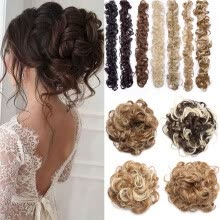 tape-hair-extensions-Scrunchie Updo Wrap Curly Messy Bun Ponytail Hair Piece Chignons Hair Extensions on JD