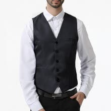 -(Toponeto) Men's New Style Business Pure V-Neck Vest Fashion Groom's Formal Vest on JD