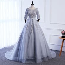 -Sexy A Line O Neck Appliques Grey Evening Dress Real Photos Long Floor Length Tulle Evening Gowns Party Prom Dress on JD