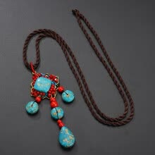 -New Bohemia Natural Red Green Turquoises Flower Sweater Chain Necklaces For Women Retro Wood Stone Beads Tassel Pendant Necklace on JD