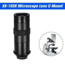 -CCD Industry Microscope Camera 8X-100X Microscope Lens C Mount Magnification Adjustable Eyepiece Magnifier Industrial Lens for LAB on JD