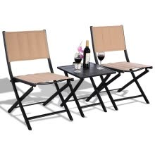 -3 pcs Folding Bistro Outdoor Table Chairs on JD