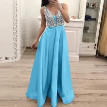 -〖Follure〗Women Fashion Sequin Dresses Sleeveless V-neck Long Evening Party Dress on JD