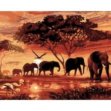-DIY Setting Sun Elephants Oil Painting Art Wall Home Decoration on JD