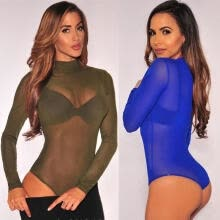 -New Sexy Women's Ladies Long Sleeve Stretch Bodysuit Blouse Body Top T-shirt on JD