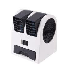 -Portable Bladeless Table Fan Double Wind Outlet Perfume Mini Air Cooler USB/Battery Desktop Cooling Fan on JD