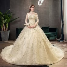 -Gold Lace Muslim Wedding Dress With Big Train 2019 New High Neck Full Sleeve Wedding Gown Vintage Bridal Gown on JD