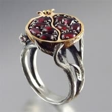 -Vintage Round Gold Natural Color Garnet Ring on JD