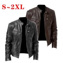 -Men Long Sleeve Stand Collar Leather Jacket Motorcycle Zipper Pocket Rider Coat on JD