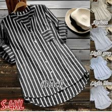 -Womens Summer Striped V Neck Blouses Loose Baggy Tops Tunic T Shirts Plus Size on JD
