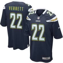 racquet-sportswear-Camiseta de fútbol para hombre de Los Angeles Chargers Jason Verrett Navy Blue Game on JD