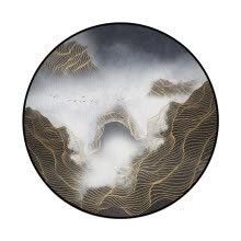 -Gobestart Abstract Blue Mountain Ink Painting Printed Soft Fabric Round Floor Mat Carpet on JD