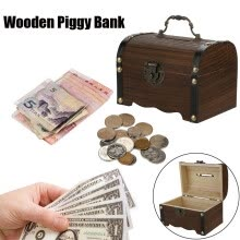 -〖Follure〗Wooden Piggy Bank Safe Money Box Savings With Lock Wood Carving Handmade on JD
