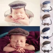 42eeb79d SUNSIOM Baby Newborn Peaked Beanie Cap Hat + Bow Tie Photo Photography Prop  Outfit Set