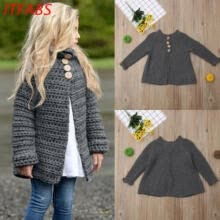 -Toddler Baby Girls Outfit Clothes Button Knitted Sweater Cardigan Coat Tops on JD