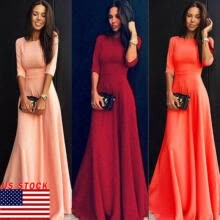 -Womens Long Maxi Dress Long Sleeve Evening Party Summer Beach Formal Sundress US on JD