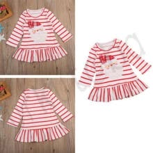 -Christmas Baby Girl Dress Casual Princess Striped Dresses Party Ruffle Hem Skirt on JD
